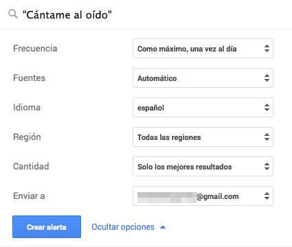 Preferencias de Google Alerts