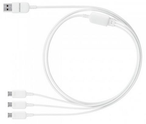 Cable cargador USB trple de Samsung