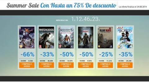 Las rebajas de verano de Uplay, descuentos de hasta el 75% en juegos de PC y consola de Ubisoft y otras distribuidoras, tanto físicos como descargables.