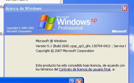 Versión windows xp