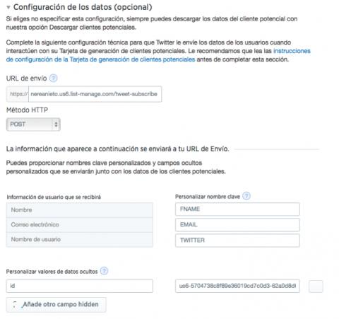 Sincronizar Mailchimp con Twitter