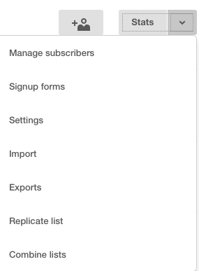 Opciones de las listas de Mailchimp