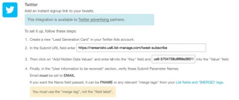 Formulario de Twitter para Mailchimp