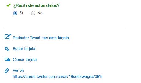 Redactar un tweet con una tarjeta