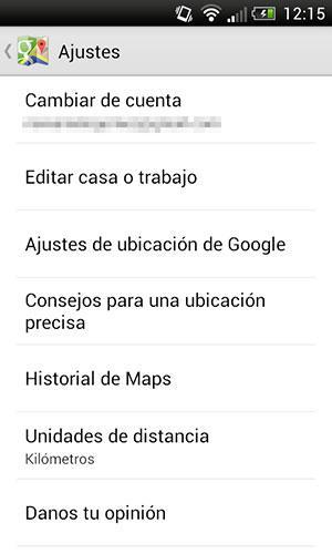 Ajustes de ubicación de Google