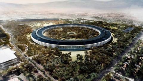 Un drone espía la sede central de Apple en construcción (vídeo)