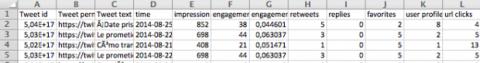 Excel de Twitter