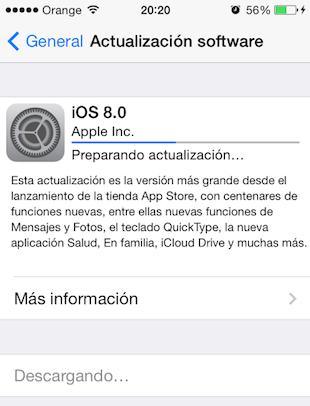 actualización iOS 8