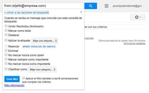 Crea filtros para tus correos en Gmail