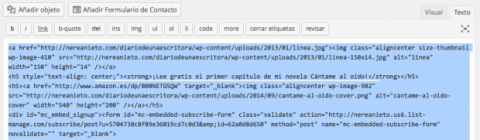 Código HTML en entrada de Wordpress