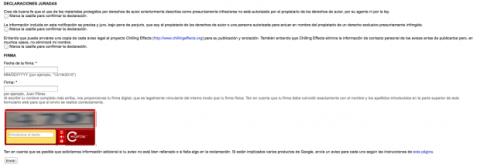 Declaraciones juradas en formulario de Google