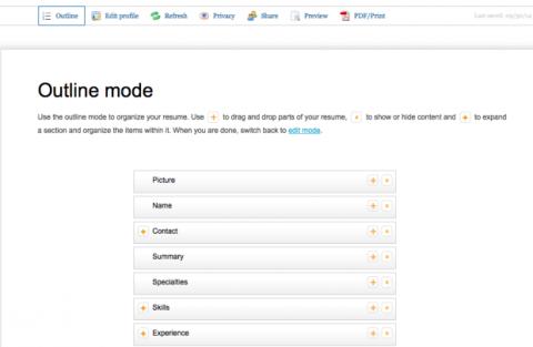 Outline mode LinkedIn
