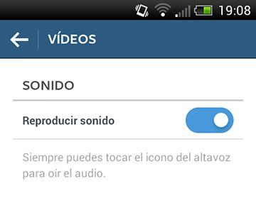 Desactivar sonido en vídeos de Instagram