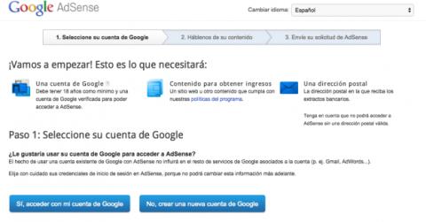 Crear cuenta de Google AdSense