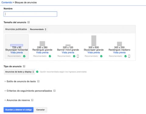 Tipos de anuncios en Google Adsense