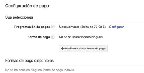 Configuración de pago Google AdSense