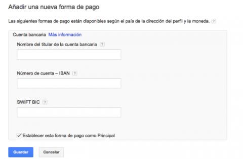 Añadir forma de pago en Google AdSense