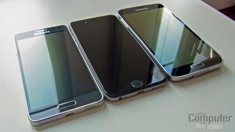 Samsung Galaxy Alpha comparado con Apple iPhone 6 y Samsung Galaxy S5