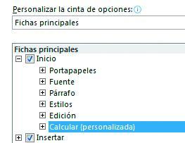 Personalizar la cinta de opciones