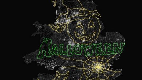 Dibujo GPS de Halloween más grande ocupa toda Gran Bretaña.