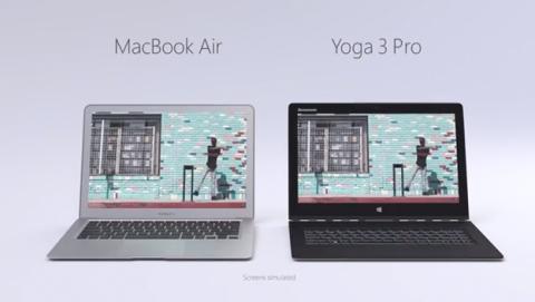 Microsoft compara en anuncio MacBook Air y Lenovo Yoga 3 Pro