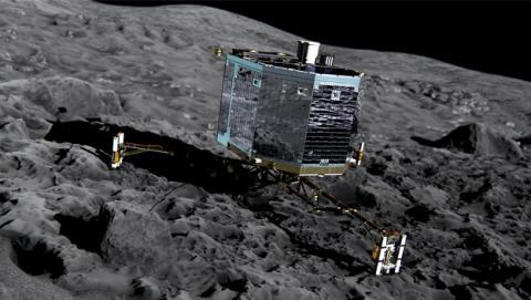 Philae aterrizando en el cometa