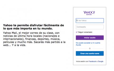 Crear cuenta de Yahoo!
