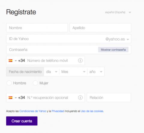 Registro en Yahoo! Mail