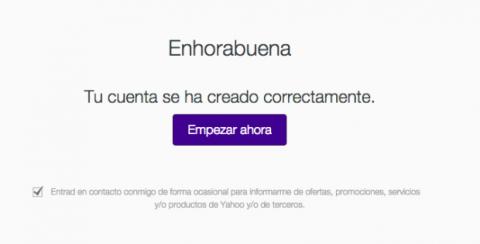 Cuenta creada en Yahoo! Mail