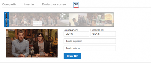 herramienta de youtube para hacer GIFs