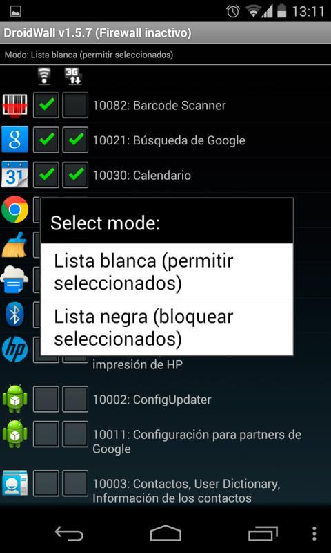 Limita las conexiones de las apps con DroidWall