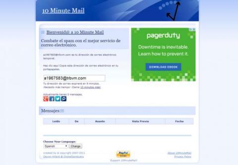 Crea una cuenta de correo desechable
