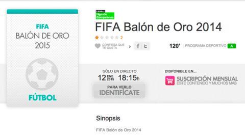 Cómo ver online en YOMVI Gala FIFA Balón de oro 2014