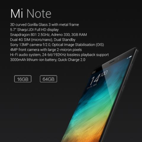 características Xiaomi Mi Note