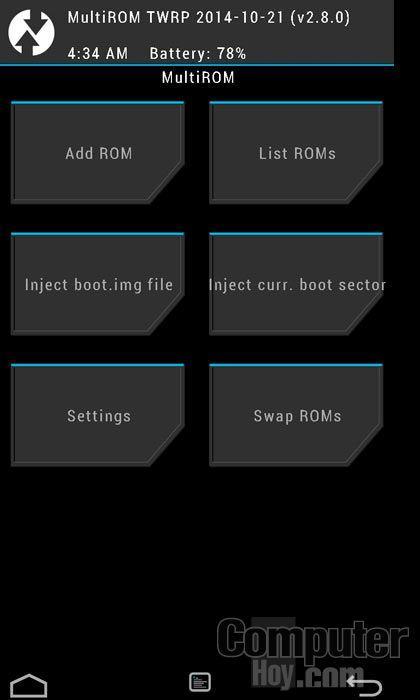 Añade una nueva ROM con MultiRom Manager