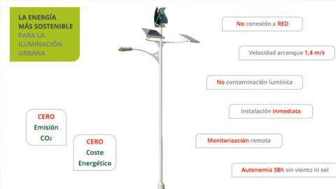 Farolas con energía renovables, nuevo invento español