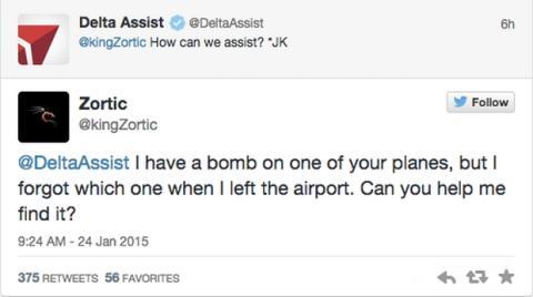 Amenaza de bomba en Twitter