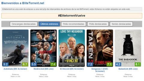 EliteTorrent está de vuelta, y con descargas de torrents.