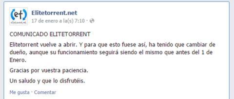 EliteTorrent vuelve