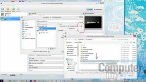 """La unidad virtual de DVD se configura eligiendo como """"disco"""" la imagen de Windows 10 descargada previamente"""