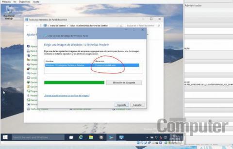 La ubicación del fichero install.wim será reconocida por el software si la imagen de Windows 10 sigue siendo la fuente para la unidad de DVD virtual