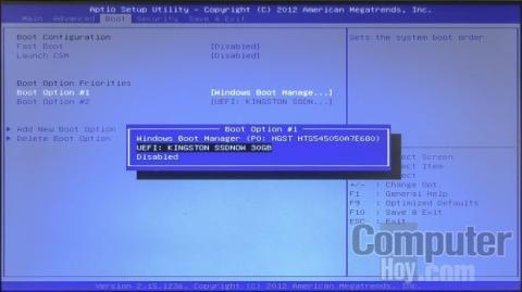 La selección de la unidad de arranque se puede realizar en la BIOS del equipo