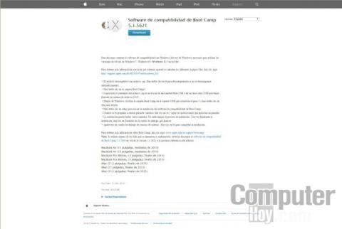 En esta página web están los controladores Bootcamp para ordenadores Apple