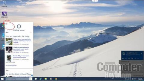 La primera pantalla de Cortana