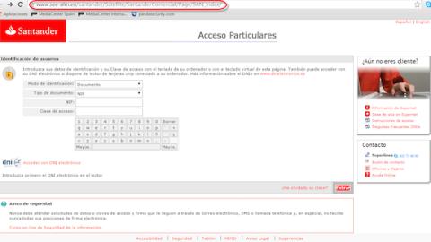 Web falsa Santander