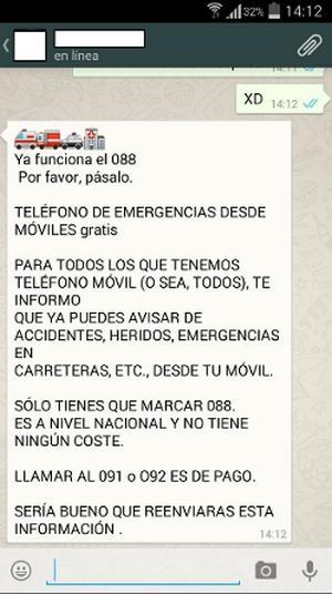 Falso mensaje WhatsApp Teléfono de emergencias