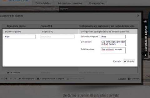 Edita la información de las páginas de tu web