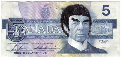 Spock en los billetes de 5 dólares