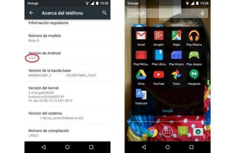 Moto G con Android 5.0.2 Lollipop