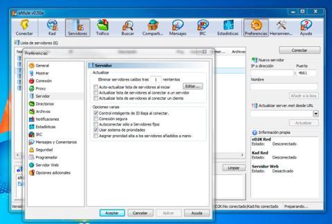 Evita la actualización automática de los servidores de eMule